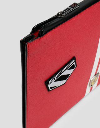 Scuderia Ferrari Online Store - Freccia Livrea Made in Italy asphalt effect envelope clutch - Pouches & Envelopes
