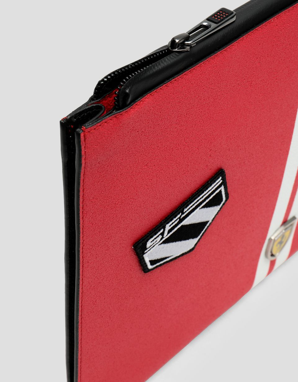 Scuderia Ferrari Online Store - Freccia Livrea Made in Italy asphalt effect envelope clutch - Pouches & Envelopes