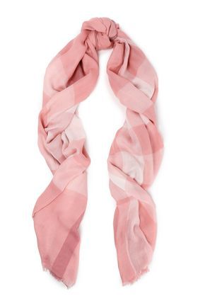 BURBERRY Checked modal, cashmere and silk scarf