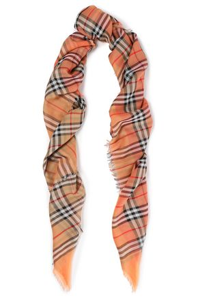 BURBERRY Frayed checked cotton scarf