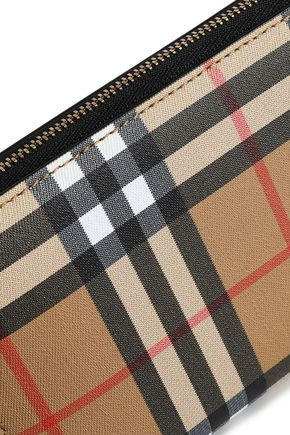 BURBERRY Checked textured-leather continental wallet
