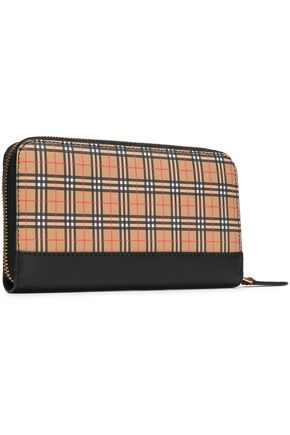 BURBERRY Checked leather-blend continental wallet