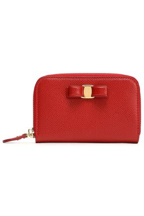 SALVATORE FERRAGAMO Vara bow-embellished textured-leather wallet
