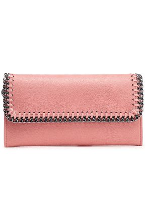 STELLA McCARTNEY Falabella chain-trimmed faux-suede continental wallet