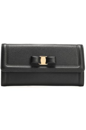 SALVATORE FERRAGAMO Bow-embellished pebbled-leather continental wallet