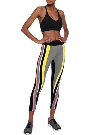 NO KA 'OI Cropped striped stretch leggings