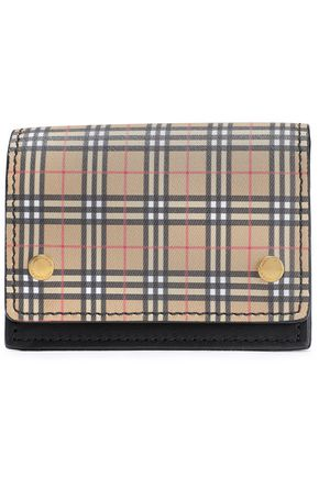 BURBERRY Checked coated-canvas and leather cardholder