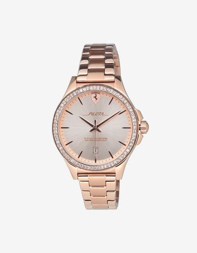 Women's rose gold-coloured Pilota watch with crystals