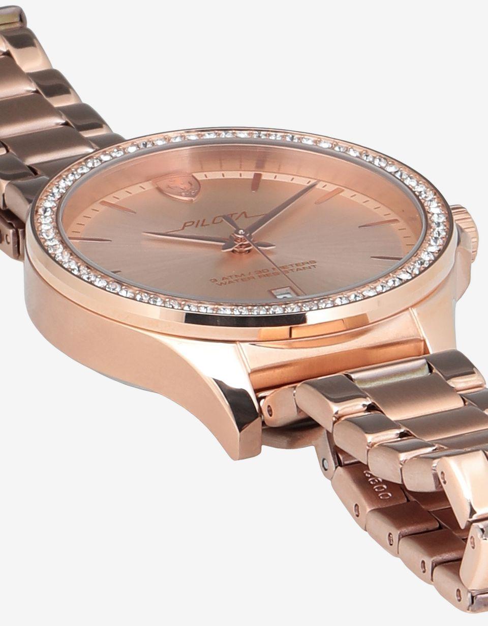 Scuderia Ferrari Online Store - Женские наручные часы Pilota цвета розового золота с кристаллами - Кварцевые часы