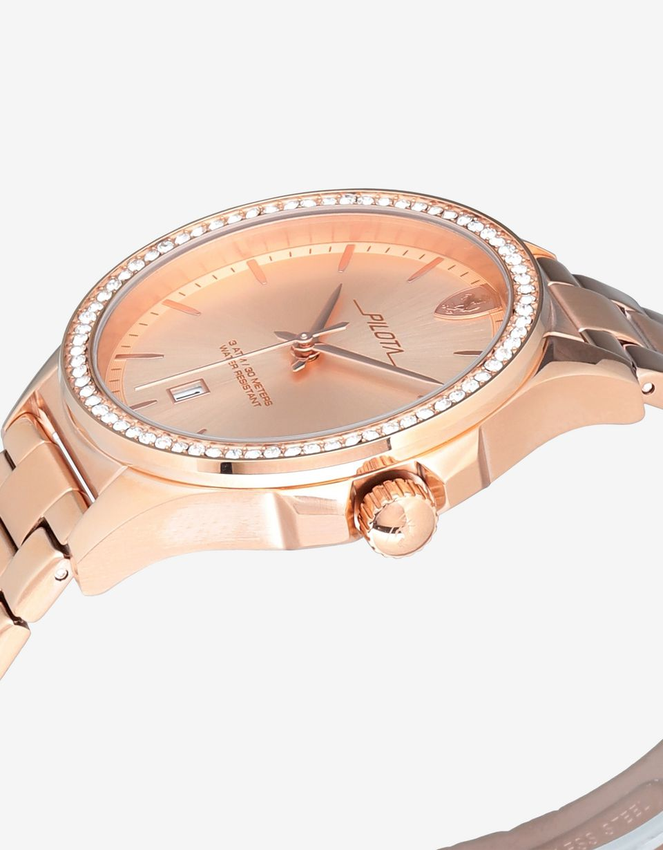 Scuderia Ferrari Online Store - Women's rose gold-coloured Pilota watch with crystals - Quartz Watches