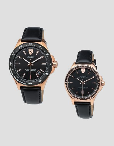 Two-piece men's and women's Pilota watch gift set