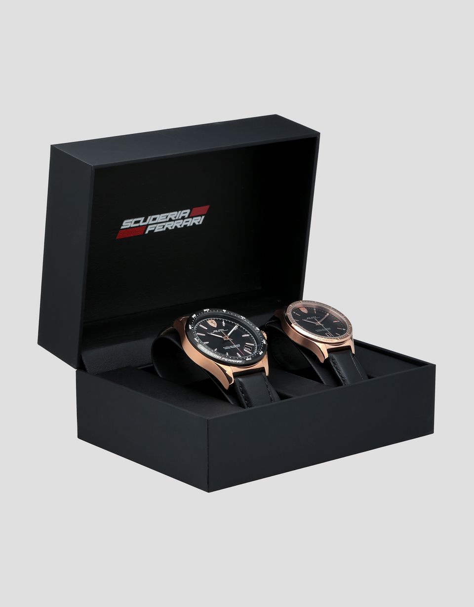 Scuderia Ferrari Online Store - Two-piece men's and women's Pilota watch gift set - Quartz Watches