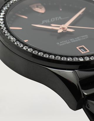 Scuderia Ferrari Online Store - Ladies black Pilota watch with crystals - Quartz Watches