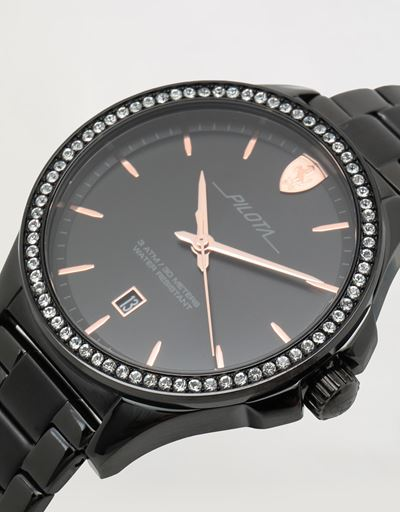 Ladies black Pilota watch with crystals
