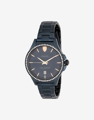 Ladies blue Pilota watch with crystals