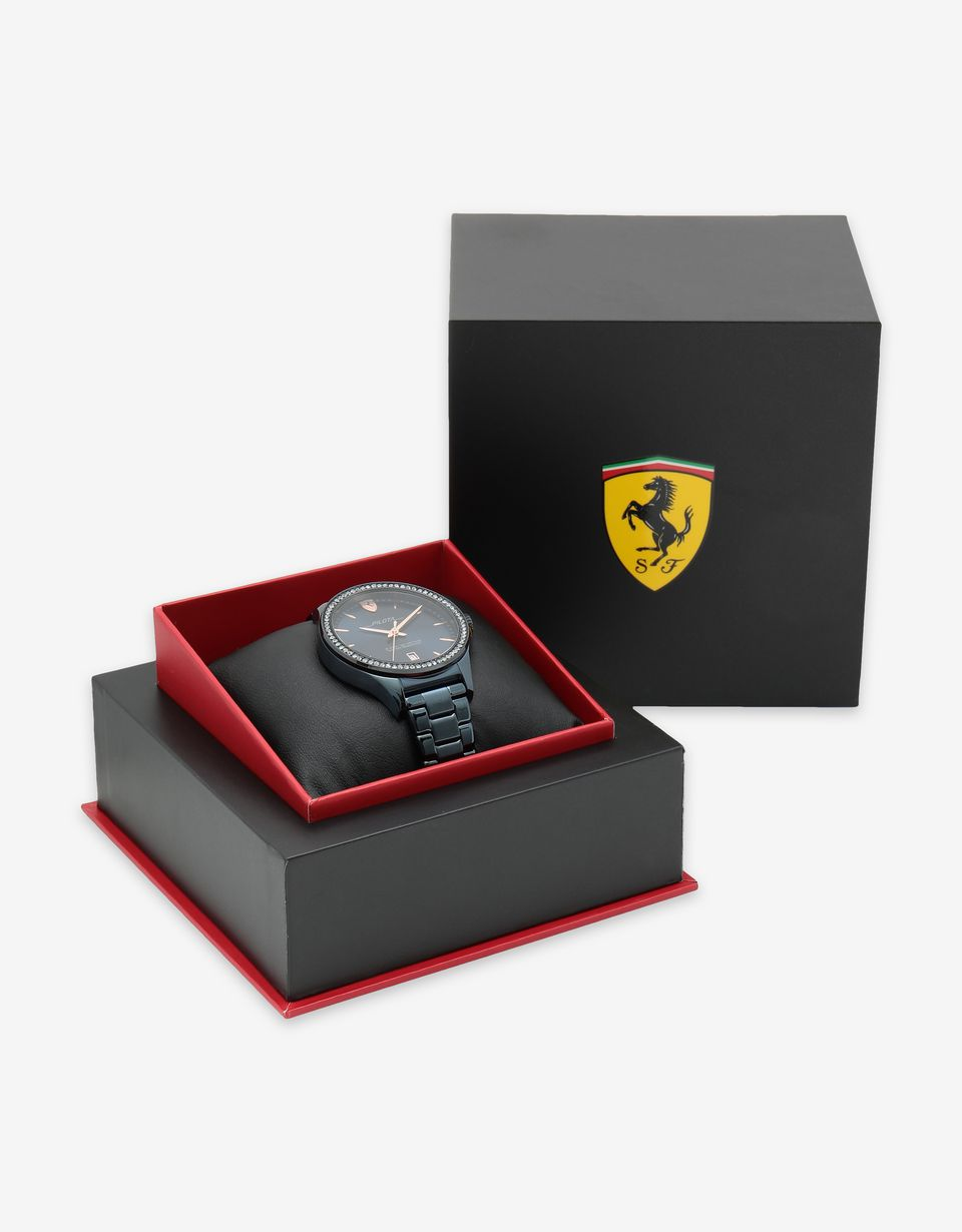 Scuderia Ferrari Online Store - Women's blue Pilota watch with crystals - Quartz Watches