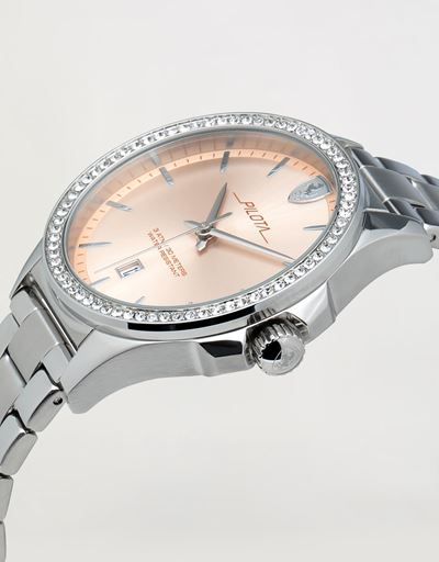 Ladies steel Pilota watch with crystals
