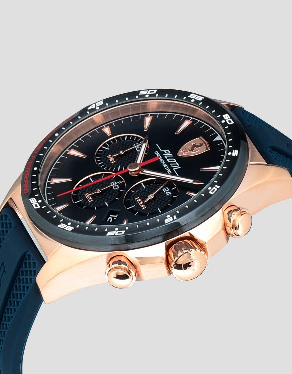 Scuderia Ferrari Online Store - Orologio cronografo Pilota con cassa color oro rosa e quadrante blu - Orologi Crono