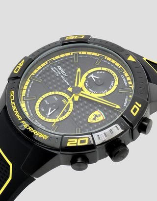Scuderia Ferrari Online Store - Black Apex multi-function watch with yellow details - Quartz Multifunctional Watch