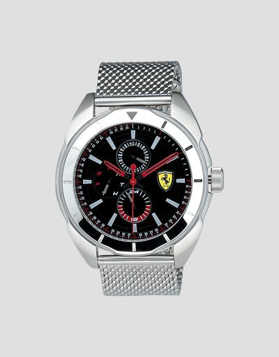 Multi-functional steel Forza watch with black dial