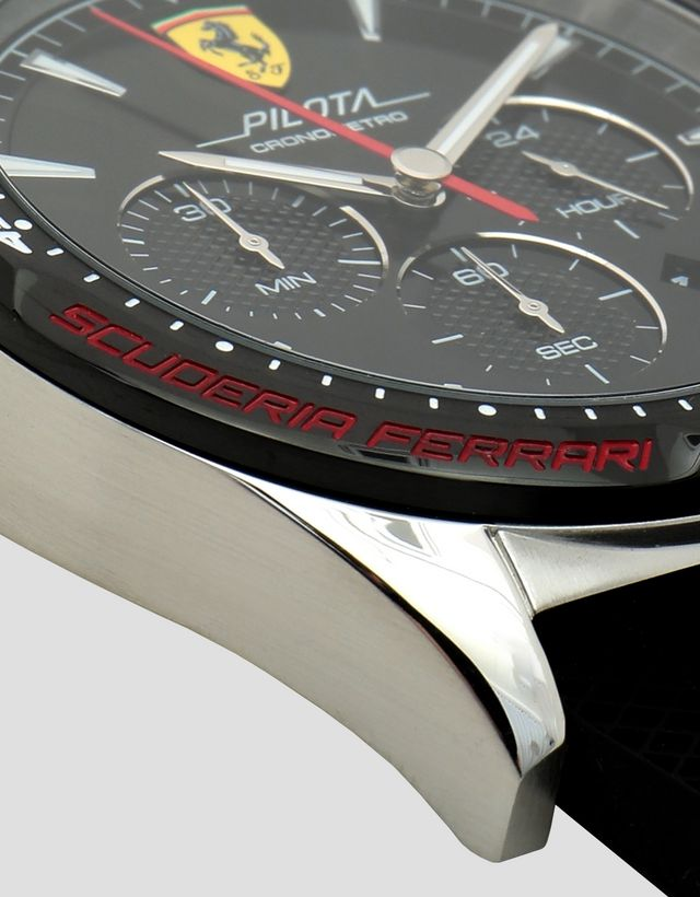 88511dfc388 ... Scuderia Ferrari Online Store - Pilota chronograph watch with rose gold  color case and black dial ...