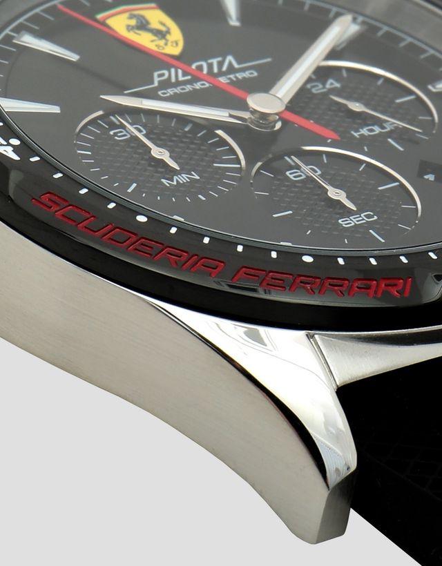 99bbb665602c ... Scuderia Ferrari Online Store - Reloj cronógrafo Pilota con caja de  acero y esfera negra ...