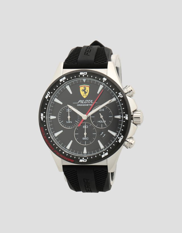 0d181cdfb Scuderia Ferrari Online Store - Pilota chronograph watch with rose gold  color case and black dial ...