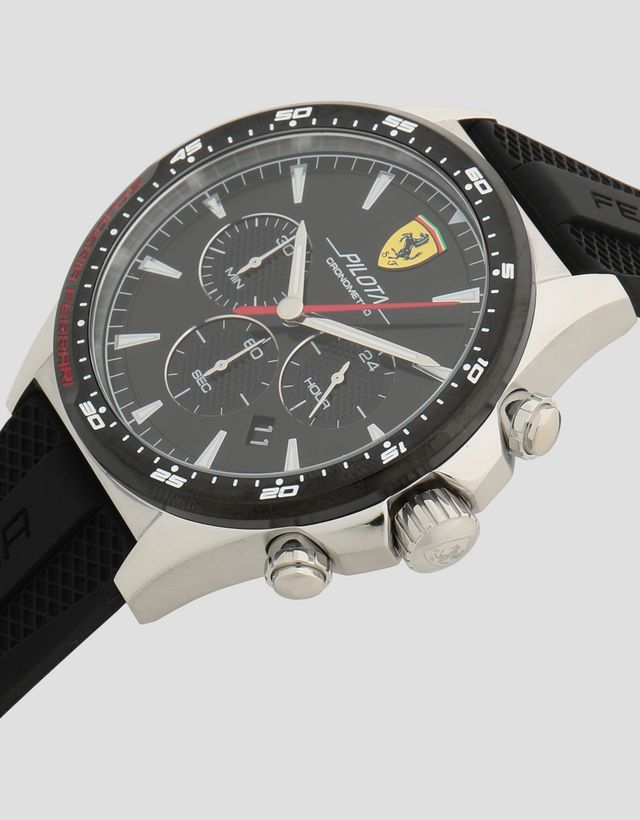 Scuderia Ferrari Online Store - Pilota chronograph watch with steel case and black face - Chrono Watches