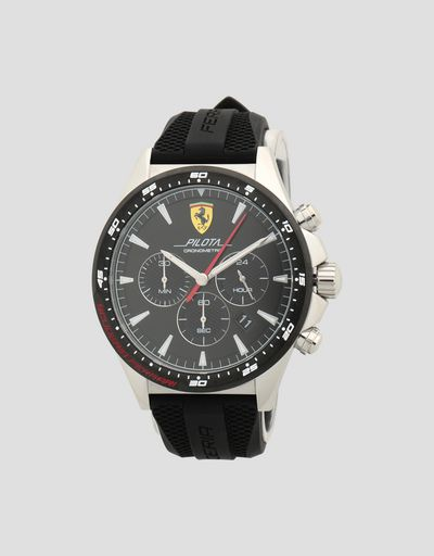 Pilota chronograph watch with steel case and black face