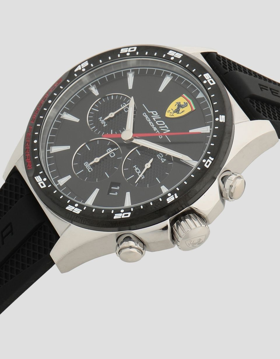 Scuderia Ferrari Online Store - Pilota chronograph watch with rose gold color case and black dial - Chrono Watches
