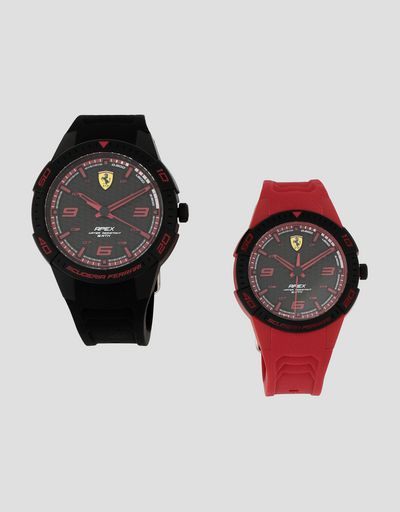 Set of two Apex watches with black faces and red details