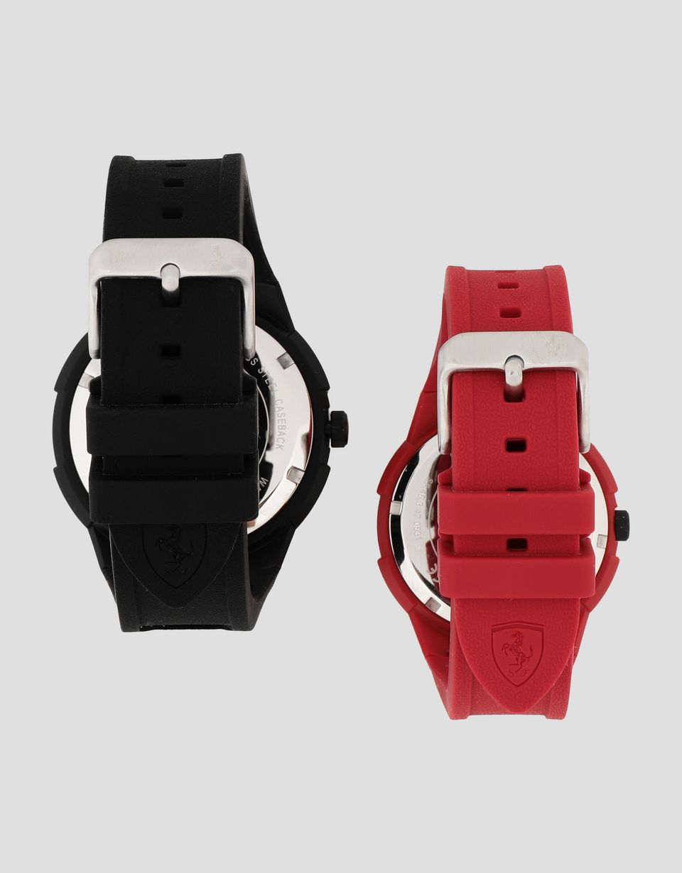 Scuderia Ferrari Online Store - Set of two Apex watches with black dials and red details - Quartz Watches