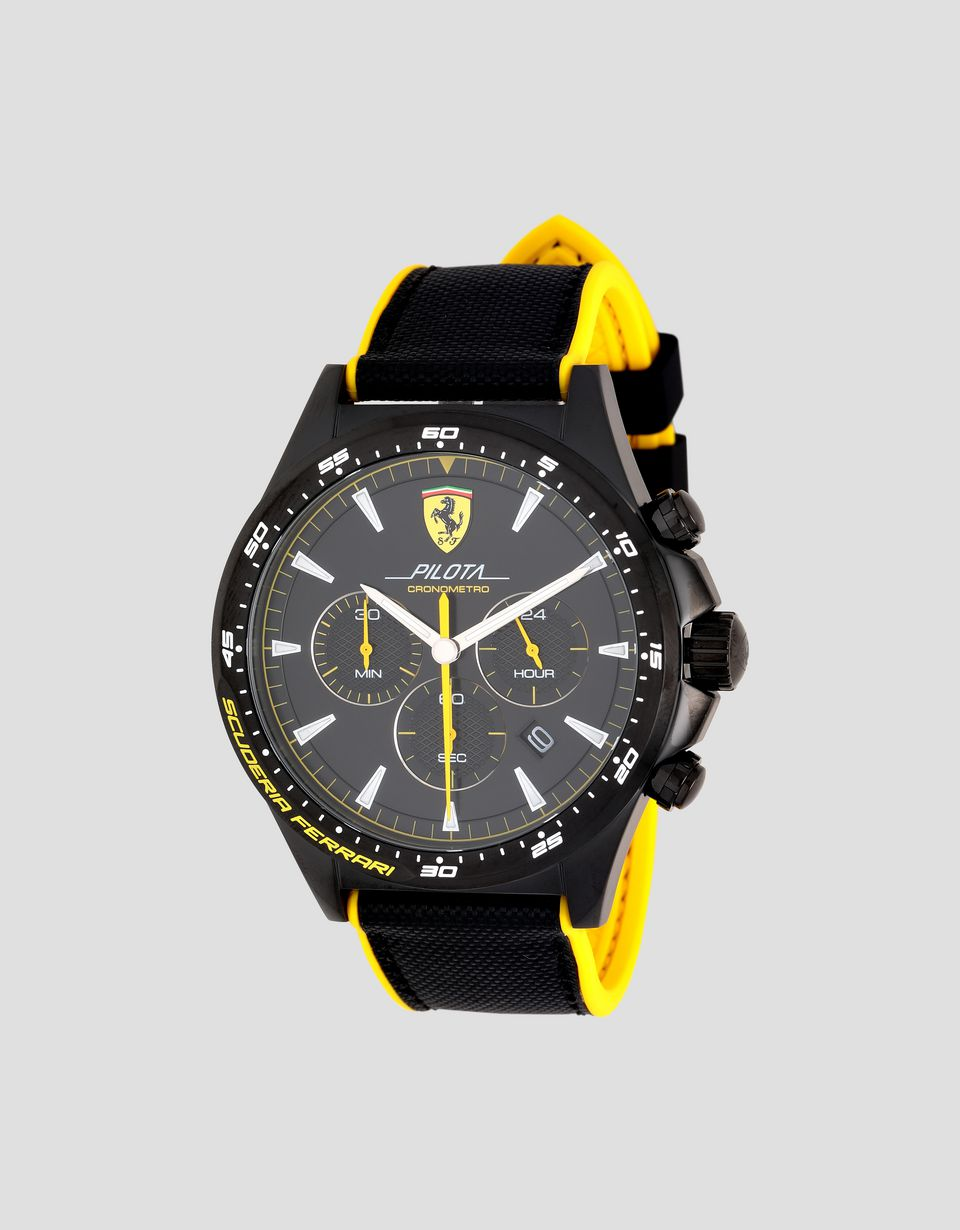 Scuderia Ferrari Online Store - Black Pilota chronograph watch with yellow details -