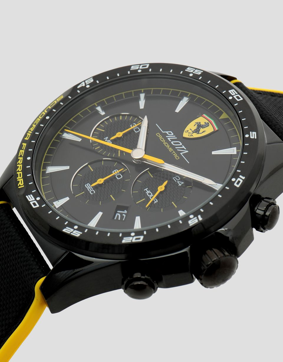 Scuderia Ferrari Online Store - Black Pilota chronograph watch with yellow details - Chrono Watches