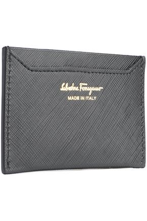 SALVATORE FERRAGAMO Miss Vara bow-embellished textured-leather cardholder
