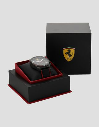 Scuderia Ferrari Online Store - Black Pilota chronograph watch with red details - Chrono Watches