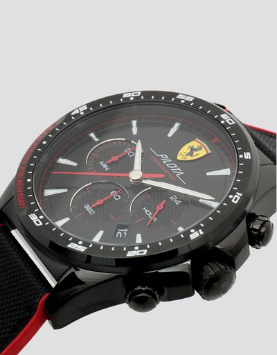 Black Pilota chronograph watch with red details