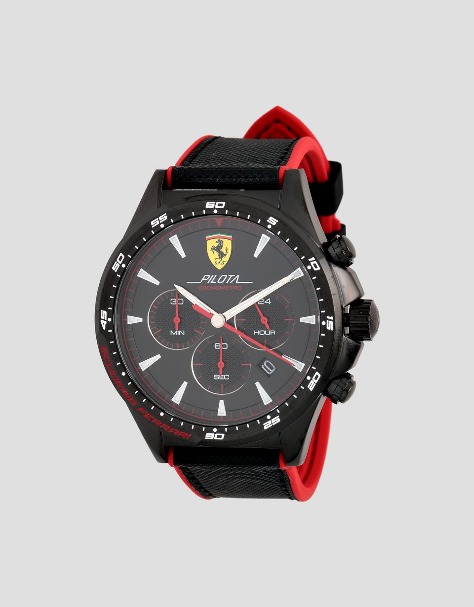 Scuderia Ferrari Online Store - Black Pilota chronograph watch with red details -