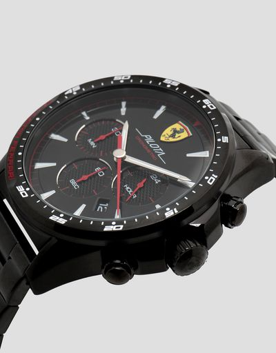 Black Pilota chronograph watch with steel strap