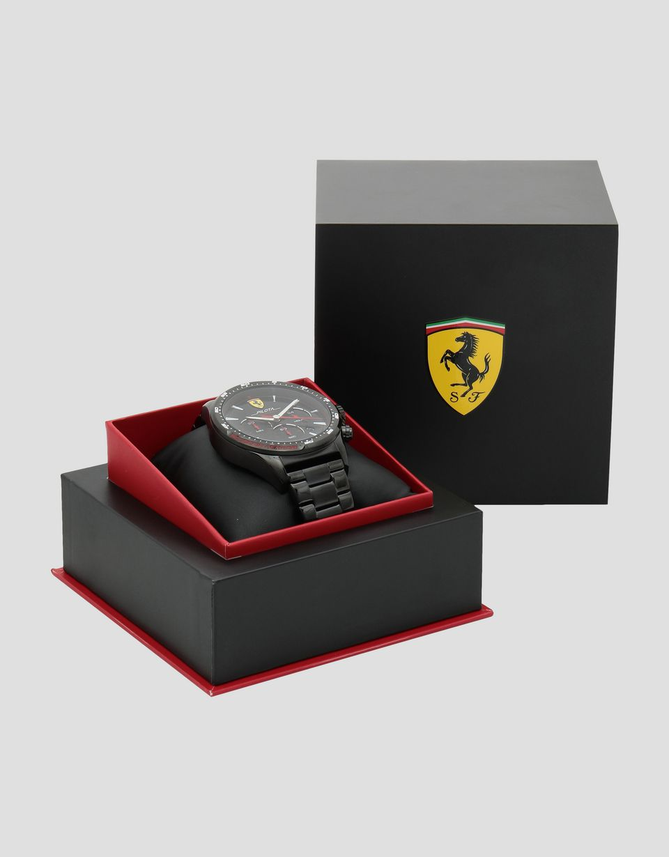 Scuderia Ferrari Online Store - Black Pilota chronograph watch with steel bracelet - Chrono Watches