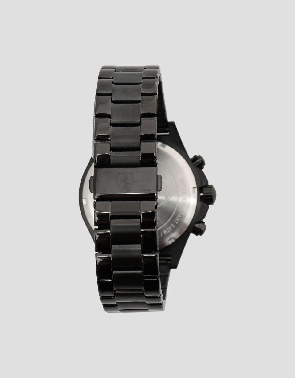 Scuderia Ferrari Online Store - Chronographe Pilota noir avec bracelet en acier - Montres chrono