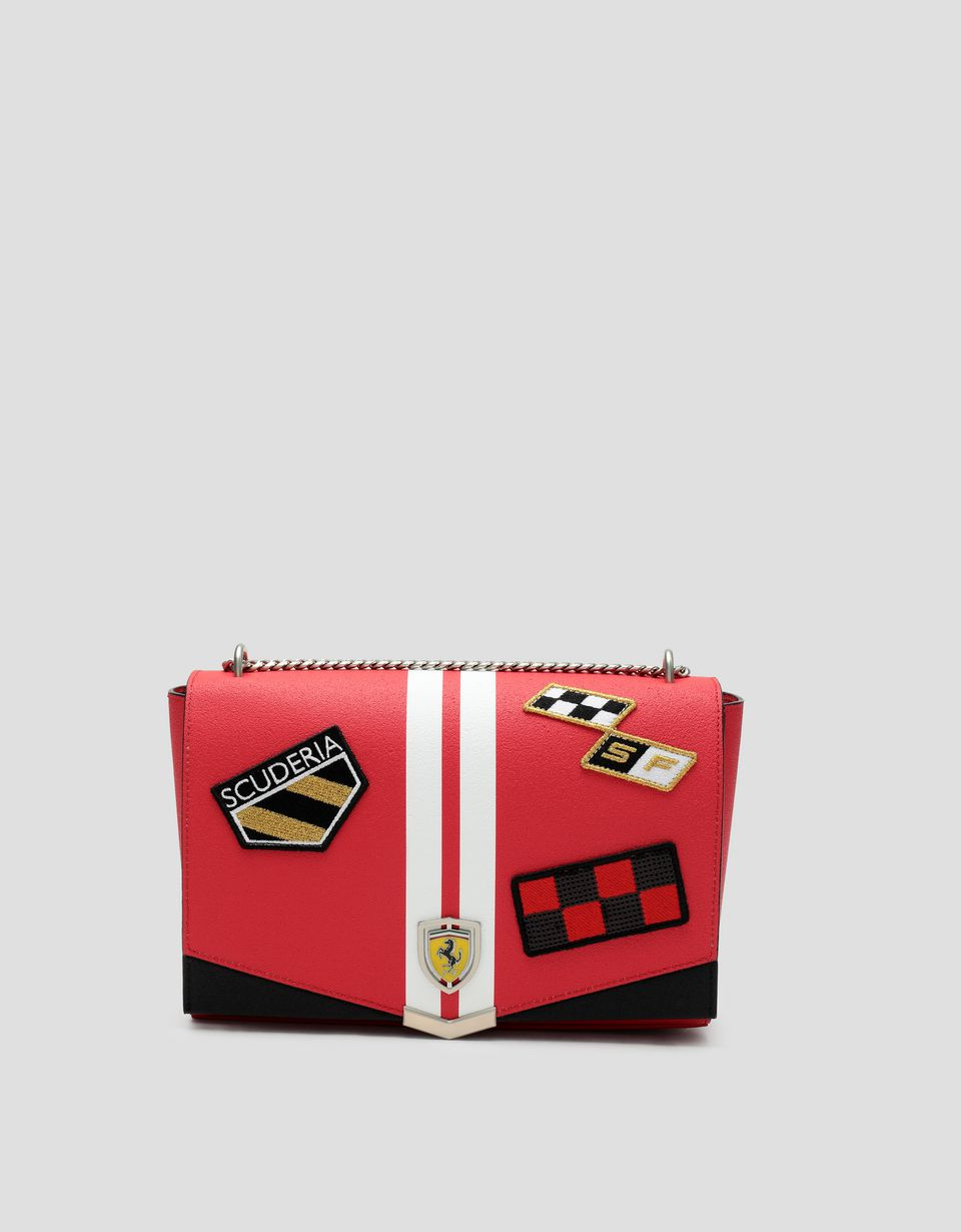 Scuderia Ferrari Online Store - Freccia Livrea Made in Italy women's bag with metal chain - Shoulder Bags