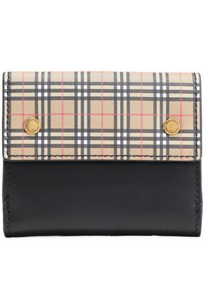 BURBERRY Checked canvas-paneled leather wallet