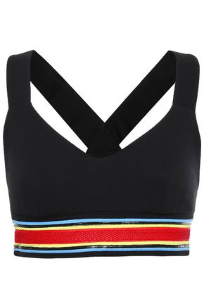 NO KA 'OI Anneune mesh-trimmed striped stretch bra top