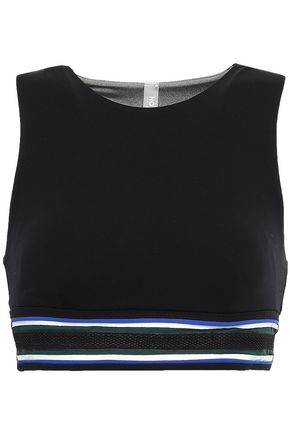 NO KA 'OI Anuenue mesh-trimmed striped stretch sports bra