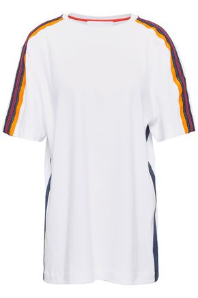 NO KA 'OI Au metallic stripe-trimmed cotton-jersey T-shirt
