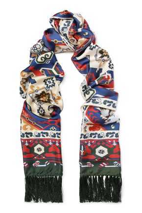 ACNE STUDIOS Fringe-trimmed printed silk-twill scarf