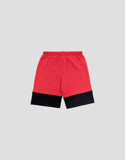 Pantaloncini bambino in felpa di cotone con inserti