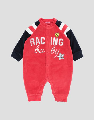 Newborn baby chenille bodysuit with RACING BABY print