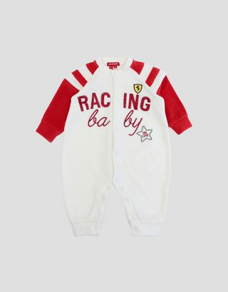 Scuderia Ferrari Online Store - Newborn baby chenille bodysuit with RACING BABY print - Jumpsuits